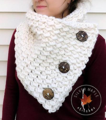 Button Cowl Crochet Pattern by Silver Maple Stitches