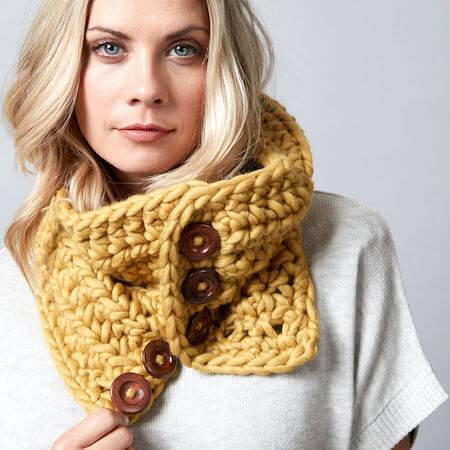 Button Up Crochet Cowl Pattern by Yarnspirations
