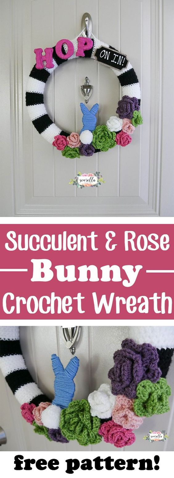 Crochet Rose Wreath With Bunny Free Pattern