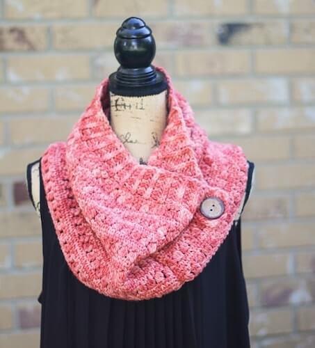 Clearwater Beach Buttoned Cowl Crochet Pattern by Salty Pearl Crochet