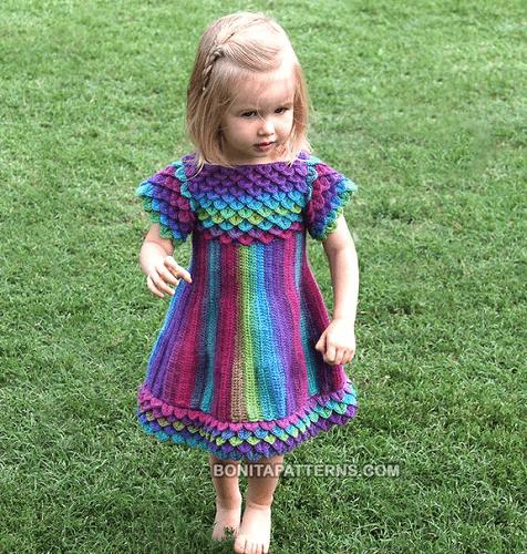 Crocodile Stitch Crochet Dress Pattern by Bonita Patterns