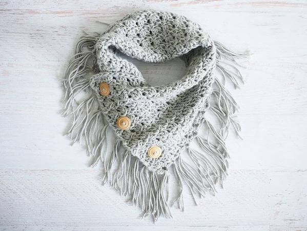 Easy Breezy Buttoned Cowl Crochet Pattern by Dabbles And Babbles