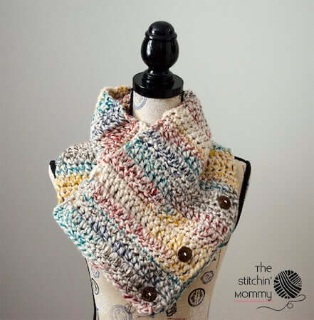 Rustic Chunky Button Cowl Crochet Pattern by The Stitchin Mommy