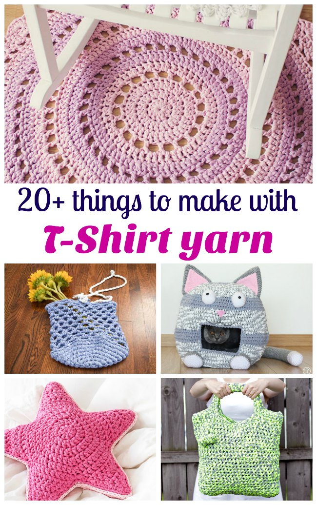 Great ideas for crochet projects using t-shirt yarn. I'll try a bag first, then a rug!