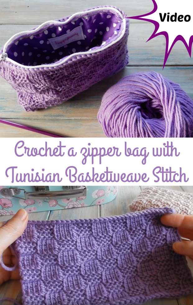Crochet Zipper Bag Tunisian Pattern Video