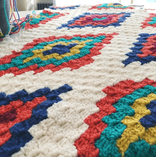 Corner To Corner Crochet Southwestern Afghan Throw Blanket