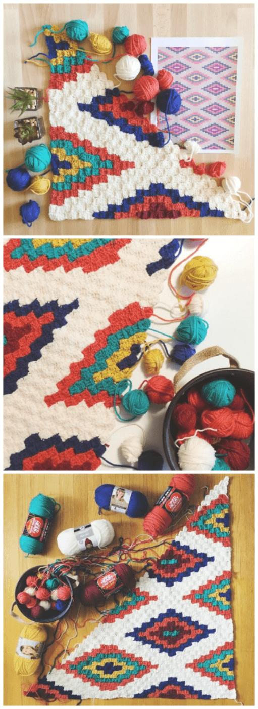 Southwestern Corner To Corner Crochet Blanket