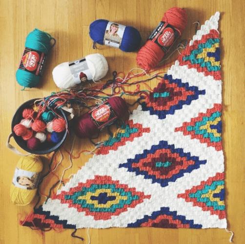 Corner To Corner Crochet Southwestern Afghan Throw Blanket
