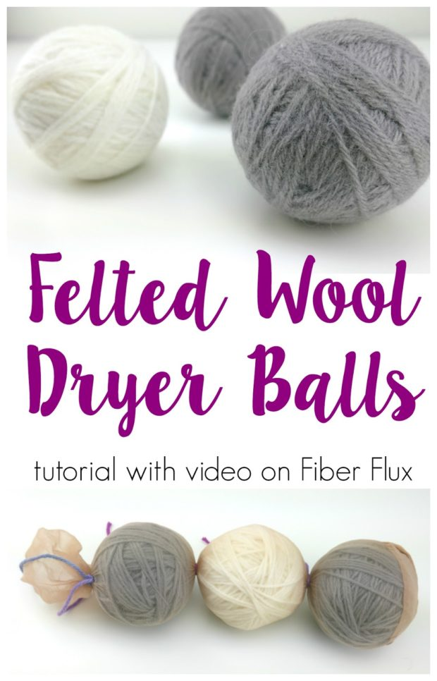How to make felted wool dryer balls -video, using your left over yarns.