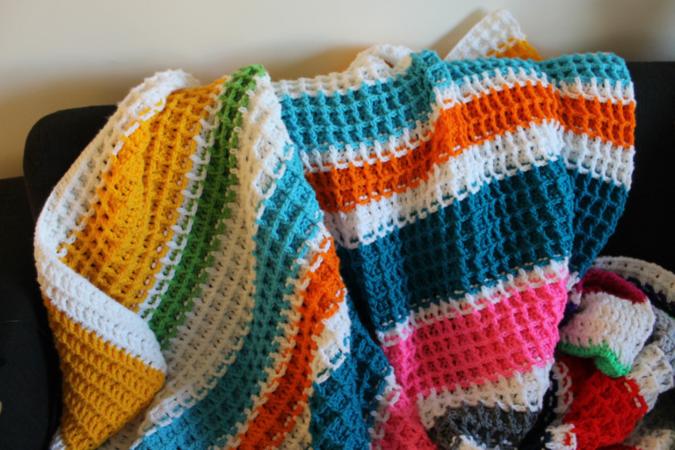 free waffle stitch crochet blanket pattern