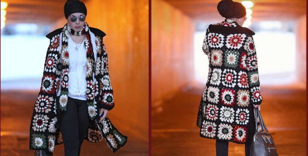 Crochet Long Cardigan Granny Square Pattern Video