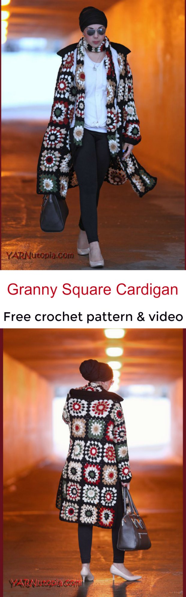 Crochet Long Cardigan Granny Square Pattern Video