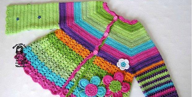 crochet flower cardigan rainbow pattern