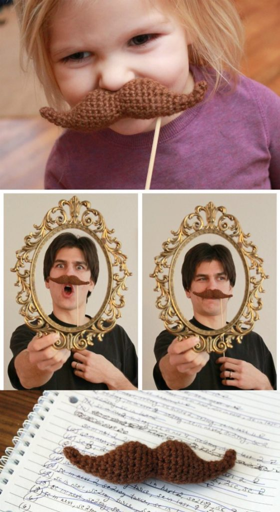 Free crochet pattern for a moustache/mustach. Fun for playtime and photo booths!