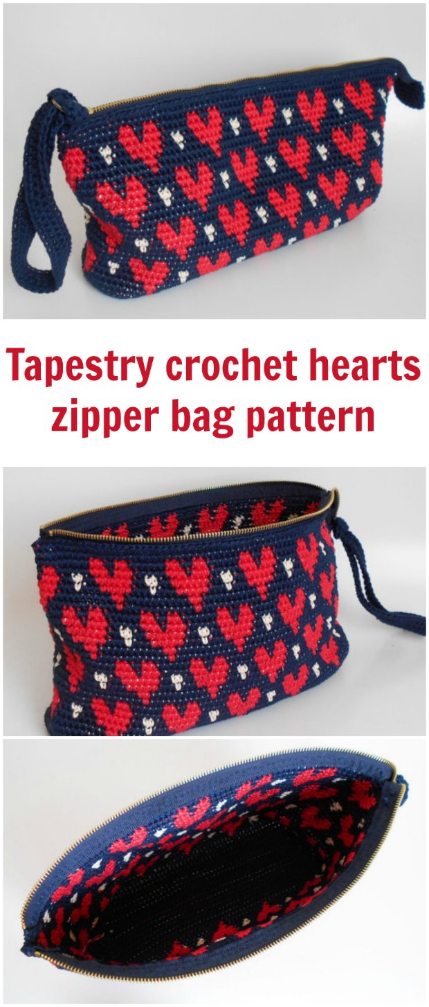 Crochet Heart Pattern Clutch Bag Tapestry Crochet News