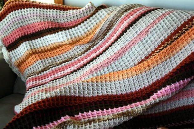 Waffle Crochet Blanket Pattern By Suburban Jubilee