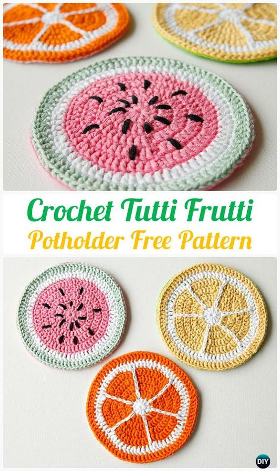 Fun and fruity crochet potholders or coasters. Free crochet pattern for summer.