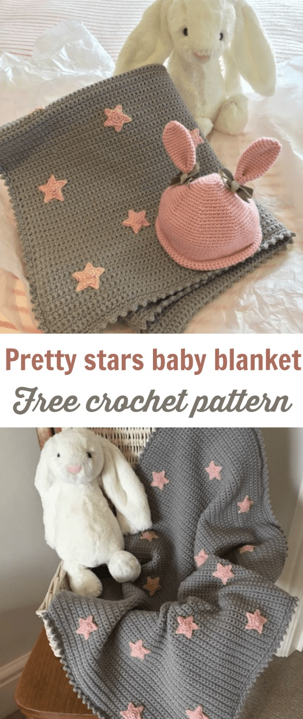 Free Easy Crochet Baby Blanket Pattern Grey With Stars Crochet News