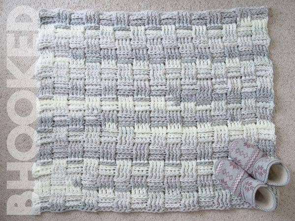 Basket Weave Crochet Rug Pattern by B.Hooked Crochet
