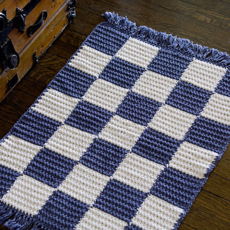 Crochet Checkerboard Rug Pattern by Red Heart