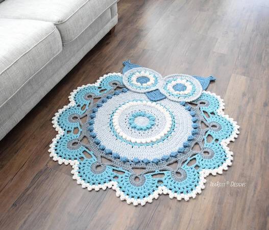 Crochet Retro Owl Rug Pattern by Ira Rott Patterns