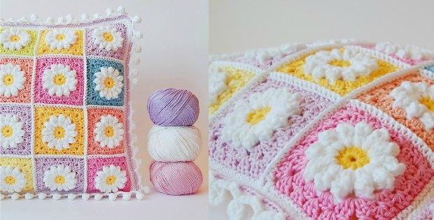 Crochet Daisy Granny Square Pillow