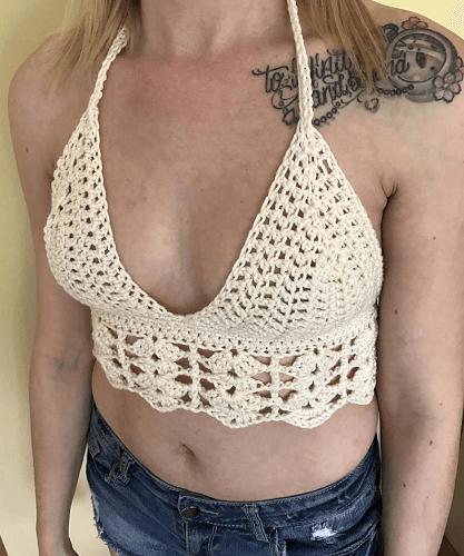 Ivory Lace Bralette Free Crochet Pattern by Carroway Crochet