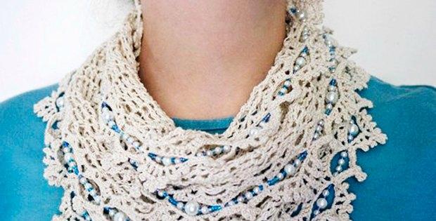 Free Crochet Scarf Patterns With Beads : Crochet Infinity Scarf Beaded Pattern - Crochet News