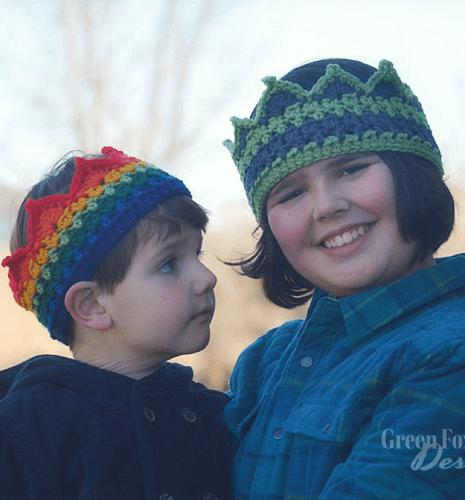 Rainbow Crown Crochet Pattern by Green Fox Farms Designs