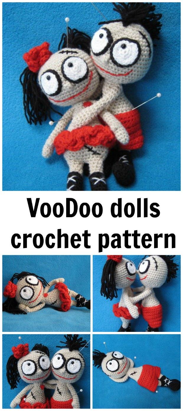 Amigurumi crochet pattern for boy and girl voodoo dolls - so cute!
