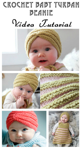 Crochet Baby Beanie - Turban Beanie - Free Video Tutorial