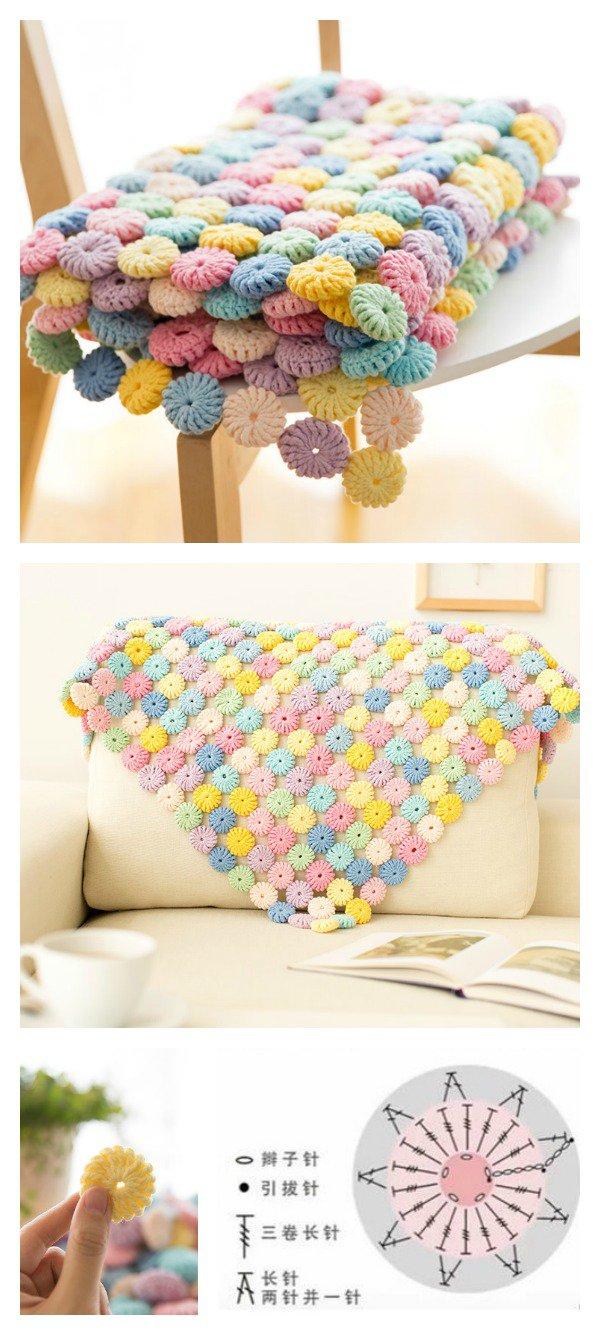 Crochet blanket patterns - yoyo puff crochet pattern