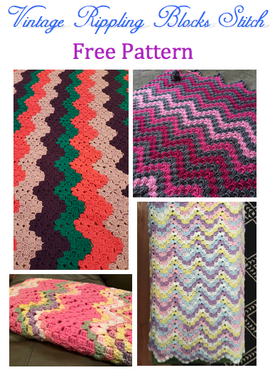 Crochet blanket patterns - Vintage Rippling Blocks stitch