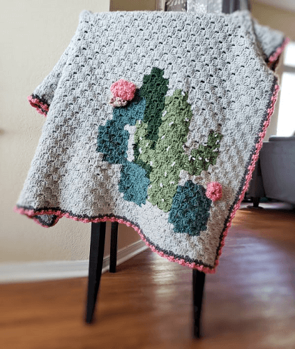 Cactus Corner To Corner Crochet Blanket Pattern by E'Claire Makery