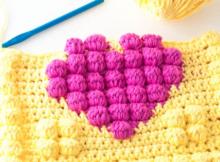 crochet bobble heart pot holder