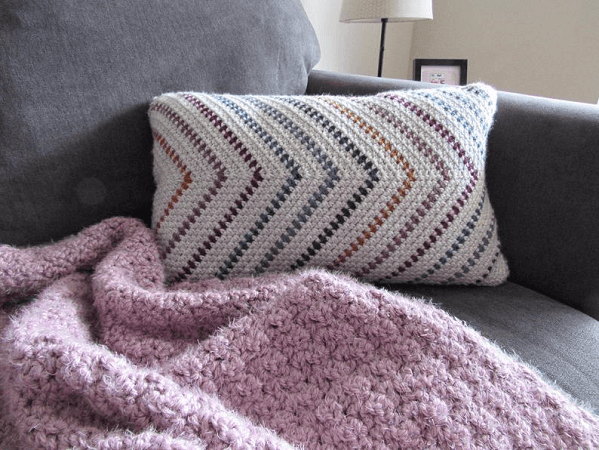 Whimsical Stripes Pillow Cover Crochet Pattern by The Pixie Creates