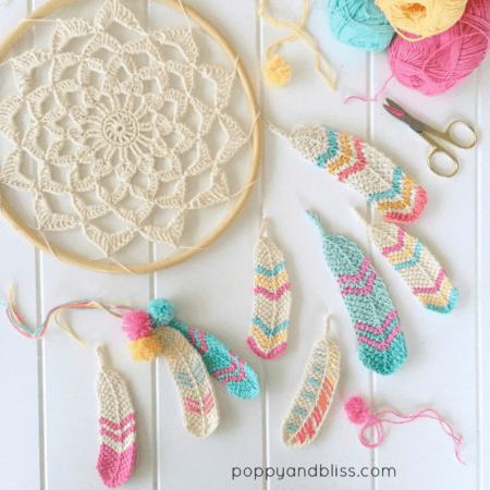 Crochet Dreamcatcher With Crochet Feathers