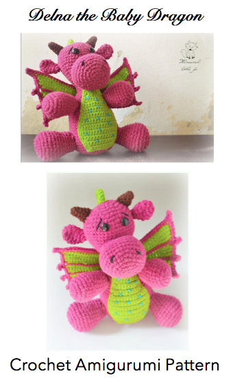 Delna the Baby Dragon Amigurumi Crochet Pattern