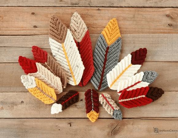 Ridged Feathers Crochet Pattern by Jen Hayes Creations
