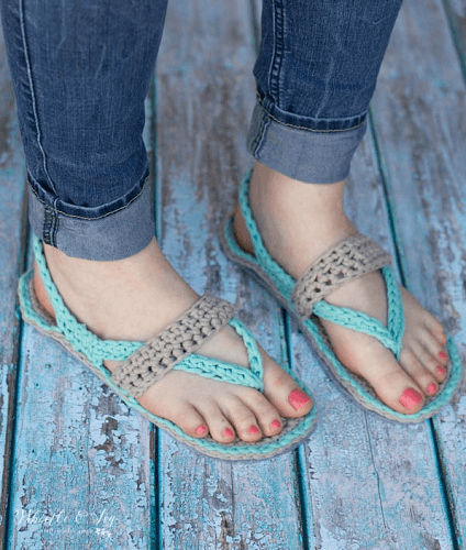 Women's Crochet Flip Flops Pattern by Whistle And Ivy