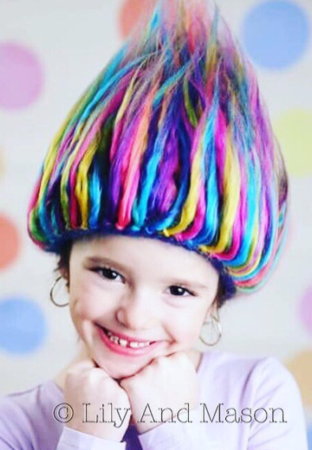 Crochet Rainbow Troll Hair Hat