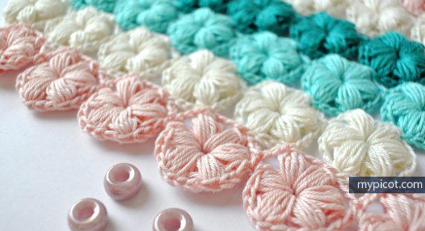 Free Crochet Puff Stitch Flower Tutorial