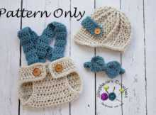 Crochet Baby Set Bow Tie, Hat And Diaper Cover Patterns
