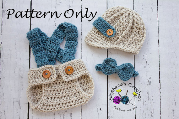Crochet Baby Set Pattern Bow Tie Hat And Diaper Cover