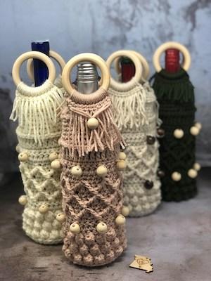 Crochet Boho Wine Tote Pattern by TL Dot Crochet