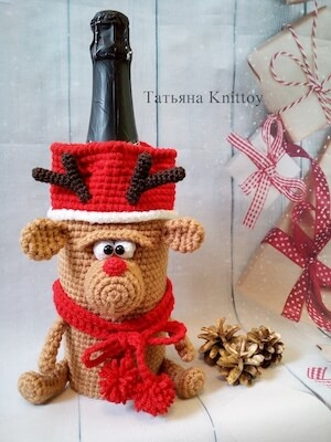 Crochet Christmas Reindeer Wine Bottle Cover Pattern by Knittoy World