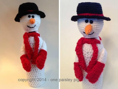 Snowman Wine Bottle Cover Crochet Pattern by One Paisley Pig