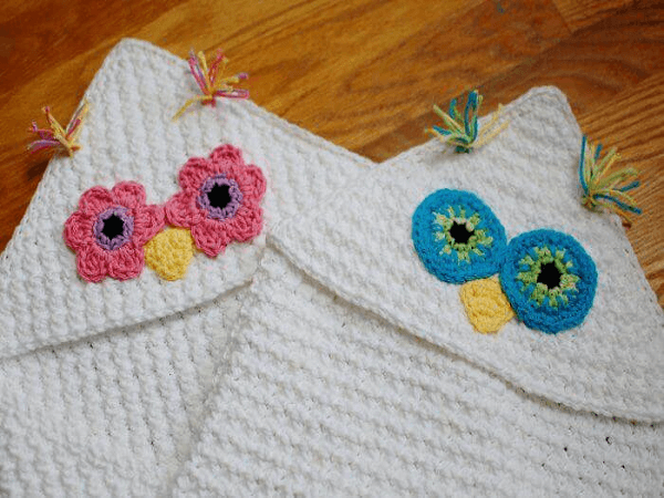 Hooded Crochet Owl Baby Blanket Pattern Free by Petals To Picots