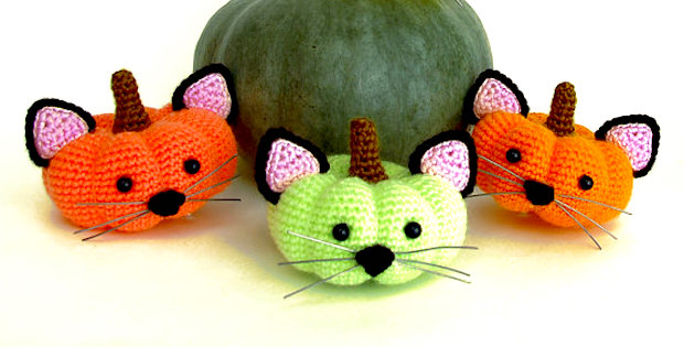 Crochet Halloween Pumpkin Kittens Pattern
