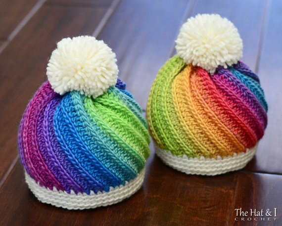 The first one was the tutti-frutti crochet rainbow hat pattern and the second was the crochet swirl hat pattern. I think you already know what I did. I just had to make them both for him. I just couldn't choose one over the other because they were just so stunning.